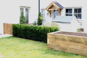 Landscaping - Raised Sleeper Planter, Taxus Hedge & Gate